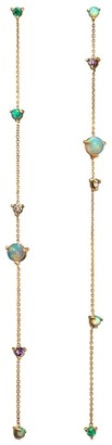 WWAKE 14kt Yellow Gold Linear Chain Gemstone Earrings
