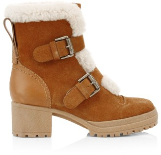 See by Chloe Shearling-Lined Suede Hiking Boots