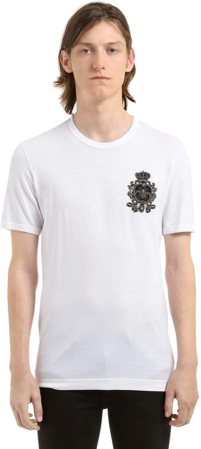 Dolce & Gabbana Bee Crest Embroidered Jersey T-Shirt