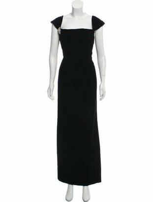 Oscar de la Renta Velvet Evening Gown Black