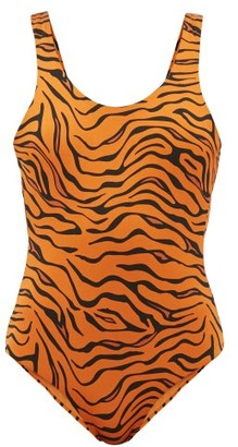 Reina Olga For A Rainy Day Tiger-print Swimsuit - Womens - Orange Print
