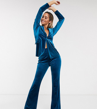 ASOS DESIGN jersey kick flare suit pants in velvet