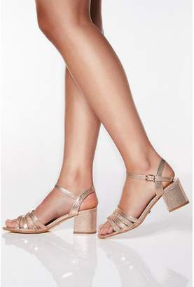Quiz Wide Fit Rose Gold Shimmer Strappy Low Heels