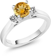 Gem Stone King 0.90 Ct Round Yellow Citrine White Diamond 18K White Gold 3-Stone Ring