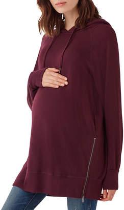 Splendid Maternity Side-Zip Pullover Hoodie, Burgundy