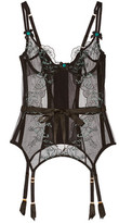 Agent Provocateur Callie Satin-Trimmed Embroidered Tulle Basque