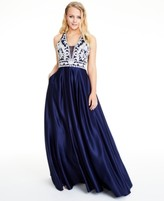 Blondie Nites Juniors' Embroidered Satin Ball Gown
