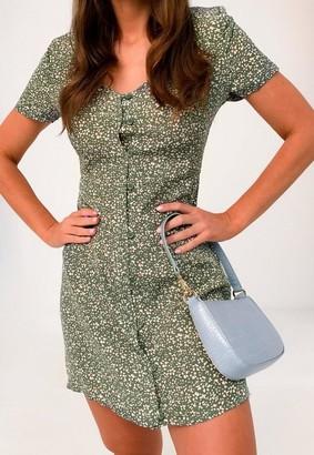 Missguided Green Floral Button Through Tea Dress