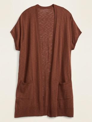 Old Navy Super-Long Slub-Knit Short-Sleeve Open-Front Sweater for Women
