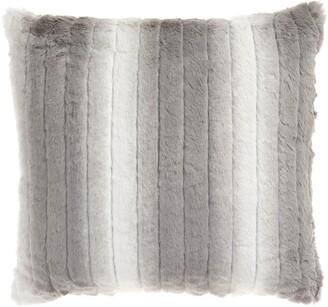 Nordstrom Stripe Faux Rabbit Fur Accent Pillow