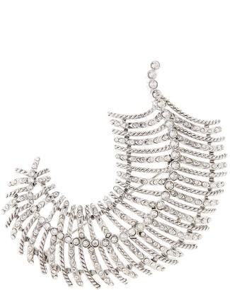 Oscar de la Renta Leaf crystal-embellished brooch