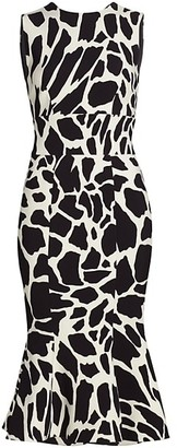 Alexandre Vauthier Sleeveless Giraffe-Print Crepe Cocktail Dress