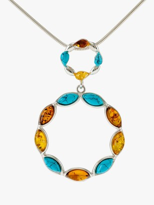 Be-Jewelled Turquoise and Amber Circle Pendant Necklace, Silver/Multi