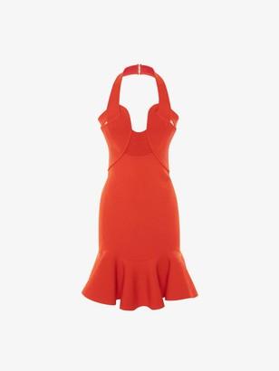 Alexander McQueen Halterneck Rib Knit Mini Dress
