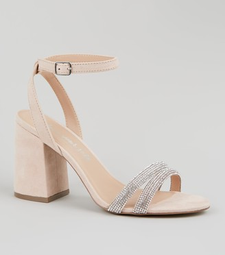New Look Suedette Diamante Strap Block Heels