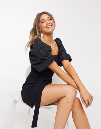 ASOS DESIGN mini pencil dress with contrast puff sleeve