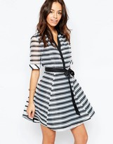Yumi Skater Shirt Dress in Stripe