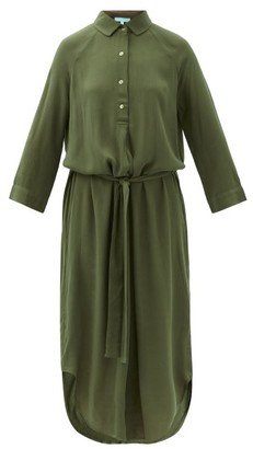 Melissa Odabash Alesha Belted Slubbed Shirt Dress - Dark Green