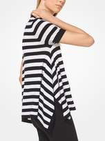 Michael Kors Striped Merino Wool-Blend Draped T-Shirt