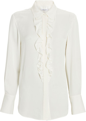 Frame Ruffled Silk Tuxedo Shirt