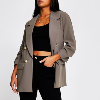 River Island Womens Petite Grey button front blazer