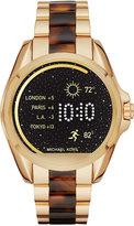Michael Kors Access Unisex Digital Bradshaw Gold-Tone Stainless Steel & Tortoiseshell-Look Acetate Bracelet Smart Watch 45mm MKT5003
