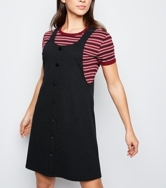 New Look Crosshatch Button Front Pinafore Dress