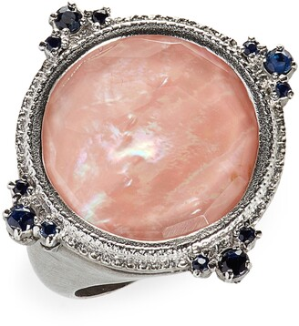 Armenta New World Mother-of-Pearl & Sapphire Ring