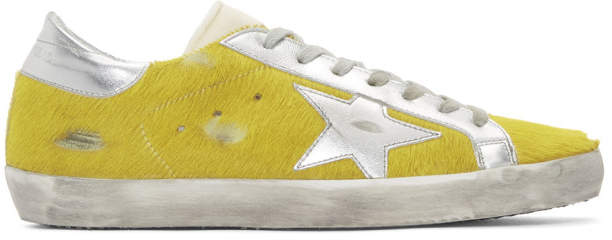 Golden Goose Yellow and Silver Calf Hair Superstar Sneakers
