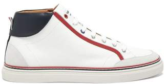 Thom Browne Tricolour Stripe Leather High Top Trainers - Mens - White