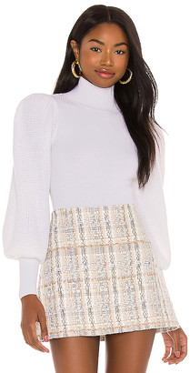 Alice + Olivia Babette Turtleneck Puff Sleeve Ribbed Pullover