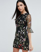 Lipsy Floral Embroidered Shift Dress