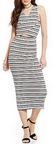 GB Cut-Out Striped V-Neck Midi Dress