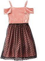 Speechless Blush Velvet & Black Polka Dot Off-Shoulder Dress - Girls