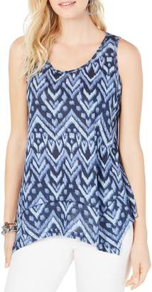 Style&Co. Style & Co. Petite Relaxed-Fit Printed Cotton Blend Tank Top