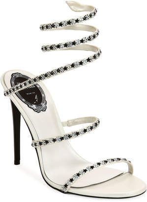 Rene Caovilla 105mm Snake-Ankle Sandals with Stars