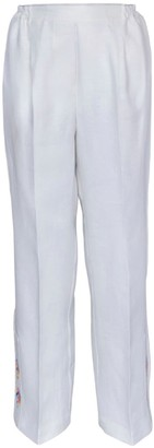 Beige Trousers With Handmade Phulkari Embroidery