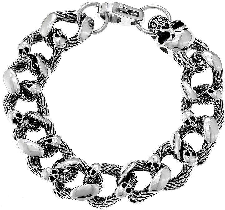JCPenney FINE JEWELRY Mens Antique Finish Stainless Steel Skull Head Bracelet