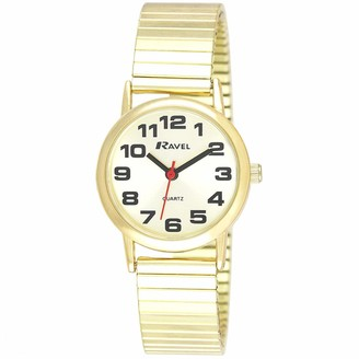 Ravel Unisex Easy Read Watch with Big Numbers on Stainless Steel Expander Bracelet - Gold Tone/Champagne Dial