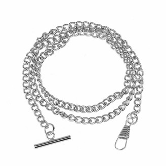 CHICTRY T-bar Pocket Watch Chain Vintage Chrome-Plated Vest Waistcoat Albert Pocket Chain Link with Lobster Clasps Silver Tone One Size