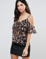 Jessica Wright Leopard Print Cold Shoulder Ruffle Top