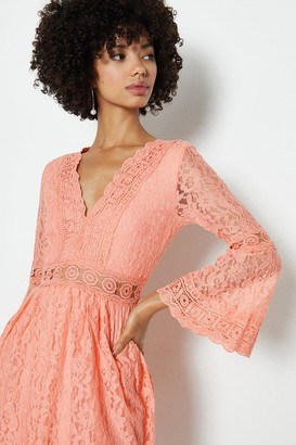 Coast 3/4 Lace Sleeve Short Swing Dress