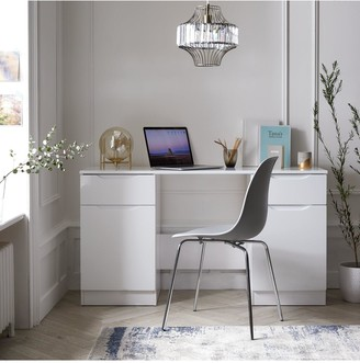 Ideal Home Bilbao Ready Assembled High Gloss Desk - White
