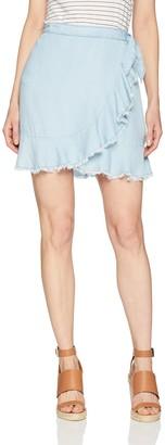 BB Dakota Women's Jenelle Chambray Wrap Skirt 8