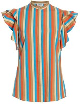Akris Punto Gazebo Stripe Ruffle Cap-Sleeve Blouse