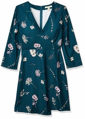 Lark & Ro Women's Three Quarter Sleeve Faux Wrap Short Dress