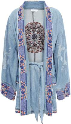 Camilla Embroidered Printed Denim Kimono