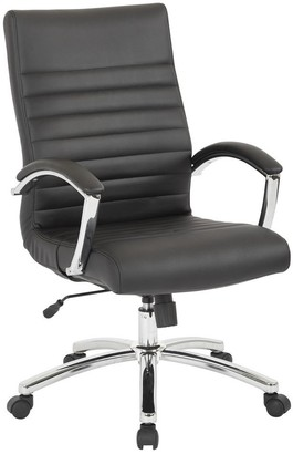 Office Star Work Smart Black Faux-leather Executive Mid-back Chair with Padded Arms and Chrome-finished Base