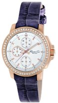 Kenneth Cole New York Women's KC2806 Dress Sport White Multi-Function Dial Stone Purple Strap Watch