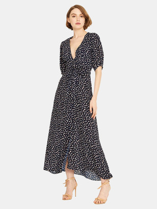 MISA Andrea Puff Sleeve Wrap Dress